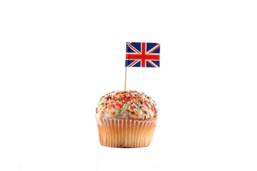 Cupcake British Flag on the white background