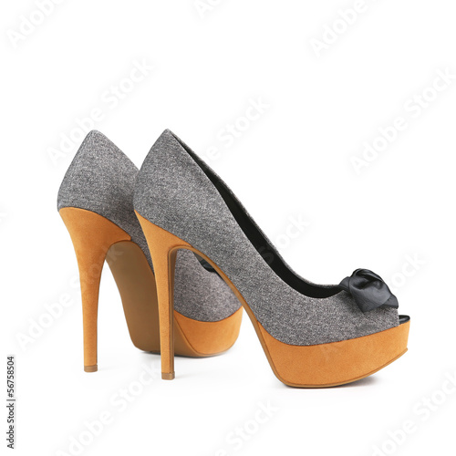 Stylish women's shoes on a white background