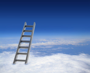 Blue sky with clouds and ladder, way to success concept