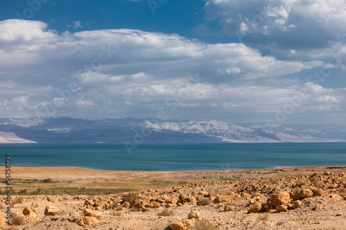 Dead Sea in the desert with mountain view