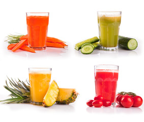 juice collection, carrot, cucumber,tomato, pineapple