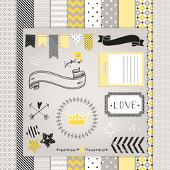 Gray and Yellow Design Elements: pattern, frames, ribbon, tag, s