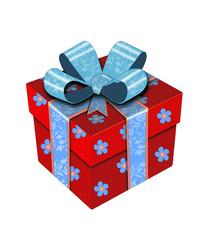 Коробка с подарком .Векторная иллюстрация.