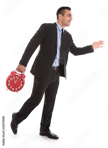 Manager unter Zeitdruck oder Eile isoliert mit Uhr