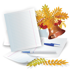 Set of office and school accessories on the white background