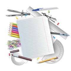 Set of office and school accessories on white background