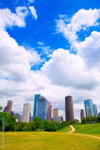 Plexiglas Texas Houston Texas Skyline modern skyscapers and blue sky