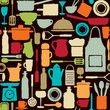 Colorful seamless pattern  with kitchen icons