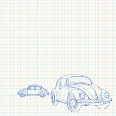 Retro Car Drawing