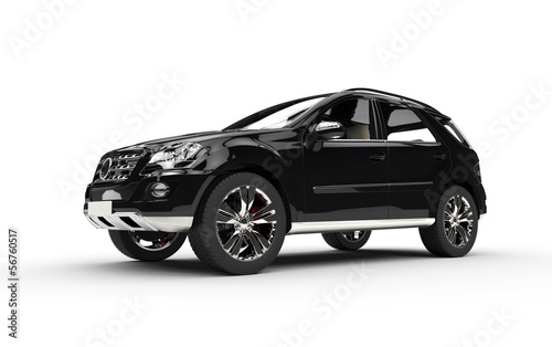 Black SUV On White Background