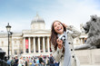 London tourist woman on Trafalgar Square