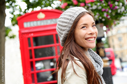 London people - woman by red phone booth