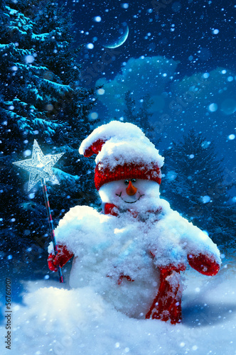 Christmas snowman and fir branches covered with snow