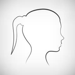 Kopf Frau Seite Silhouette Kontur