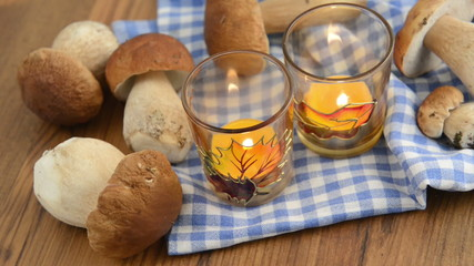 penny bun mushrooms and burning tea light candles.
