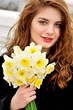teen girl and flowers