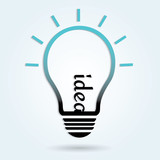 Light bulb idea concept template. Vector illustration.