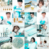 Microbiologists at work, collage