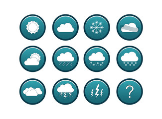 Blue weather icon set