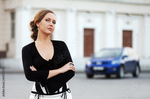Beautiful woman walking on the city street