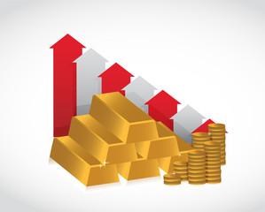 gold falling profits illustration design
