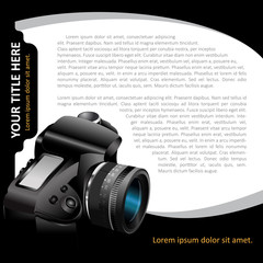 Black vector background with modern DSLR camera for brochure