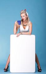 full lenght Portrait pretty woman tea white board
