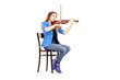 Casual young woman seated on a wooden chair playing the violin