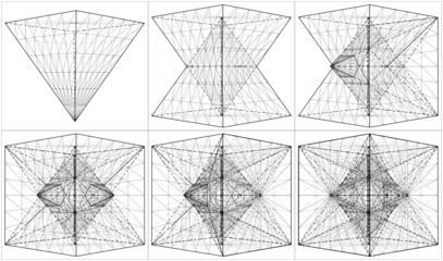 Creation Of Cube And Pyramid On Its Six Sides Vector