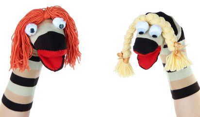 Cute socks puppet isolated on white