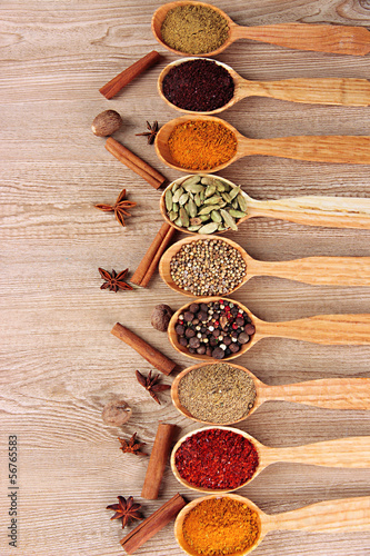 Fotobehang Kruiden 2 Assortment of spices in wooden spoons on wooden background