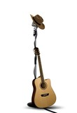 Fototapety Vintage Microphone with Cowboy Hat and Guitar