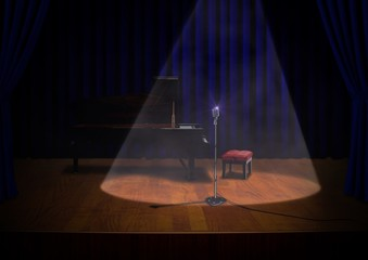 Stage with Piano and Microphone