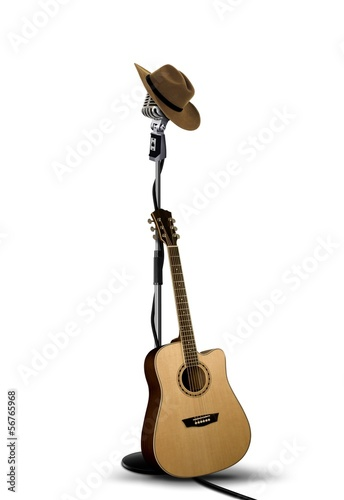 Vintage Microphone with Cowboy Hat and Guitar