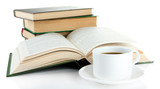 Cup of coffee and books isolated on white