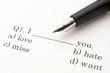 英語の問題と万年筆