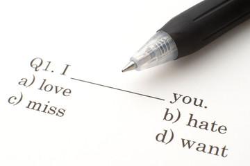 英語の問題とボールペン