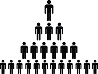 Human pictogram pyramid illustrated on white