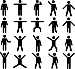 Set of active human pictograms illustrated on white background