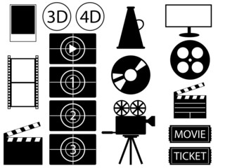 Set of movie and cinema elements