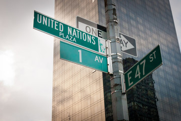 United Nations Street Sign