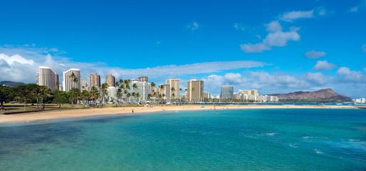Ala Moana Beach Park on a nice day with Waikiki and Diamond Head