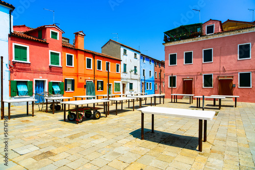 Venice landmark, Burano old market square, Italy
