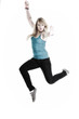 Young female Happy woman jumping with arms up isolated