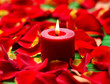 Close up of red candles with rose petals