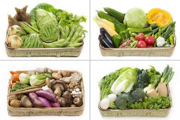 季節の篭盛り野菜