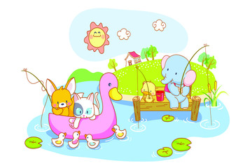 funny animals playing in the river