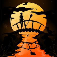 Хэллоуин, силуэт молодой ведьмы, стоящей на мосту