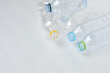 Composition with empty polycarbonate plastic bottles