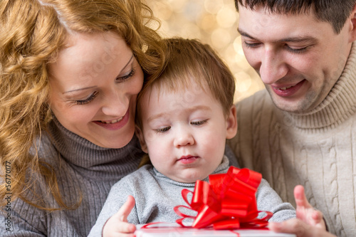 family celebrating christmas holiday